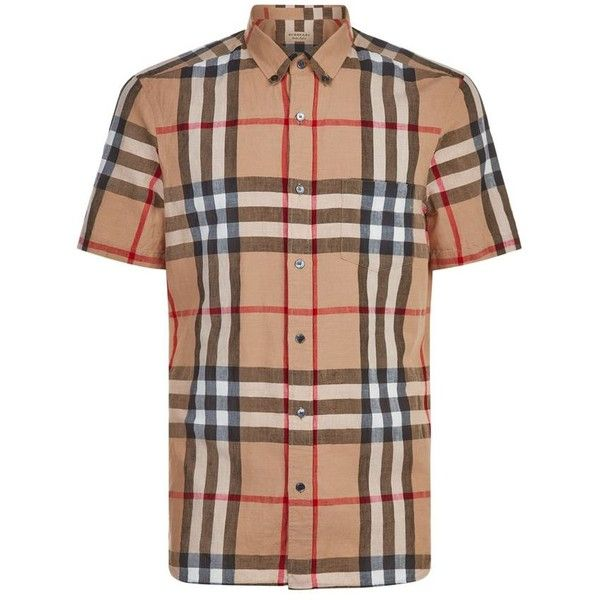 Burberry Checked Linen Shirt ($275) ❤ liked on Polyvore featuring men's fashion, men's clothing, men's shirts, mens short sleeve shirts, mens checked shirts, mens linen shirts, burberry mens clothing and burberry mens shirts