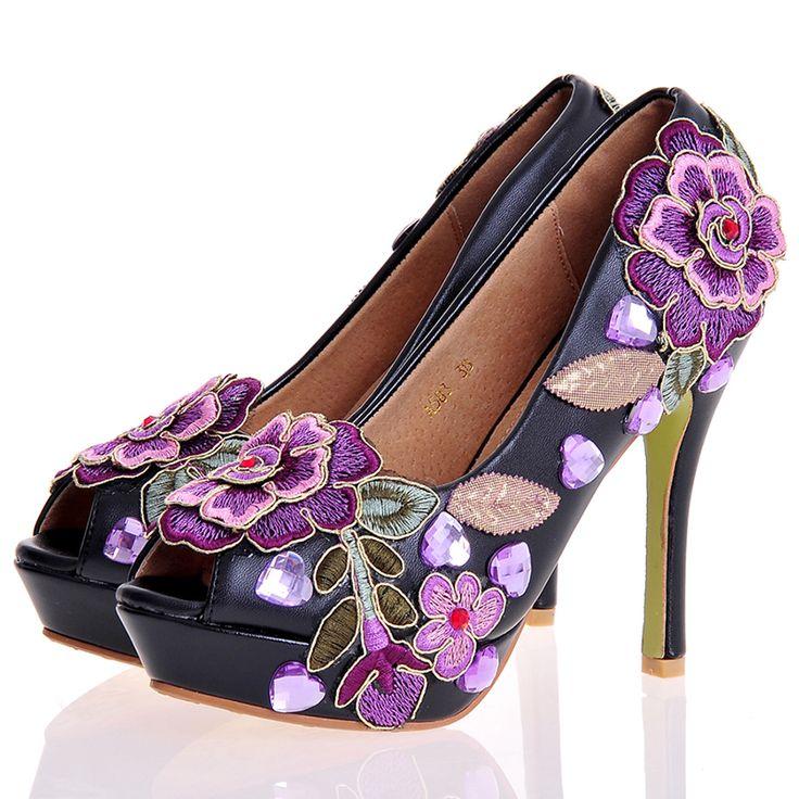 Chic Floral Embroidered Platform Heel Bridal Shoes