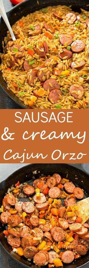 Sausage and Creamy Cajun Orzo Skillet - Make dinner a breeze with a meal all made in one skillet in only 20 minutes! So creamy and delicious. Makes for a great meal or a flavorful side-dish!