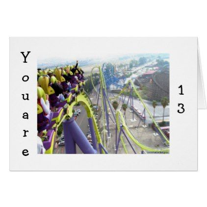ROLLER COASTER THRILLS FOR THE 13 YEAR OLD CARD - teenager birthday gift idea present teens party