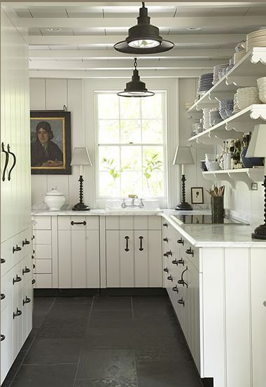 1949 best country white images on pinterest farmhouse for Slate kitchen floors with white cabinets