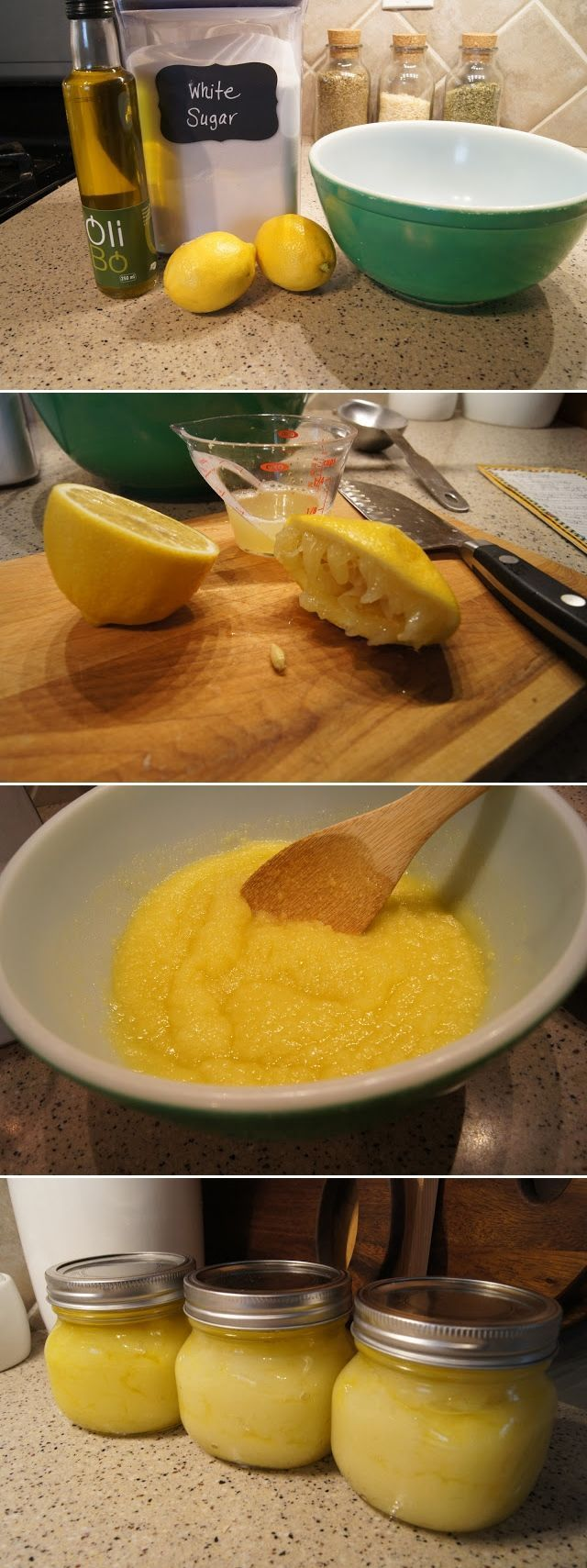 Home made face scrub. Lemon, sugar and a dash of oil. Personally I'd lay off the oil but each to their own :-)