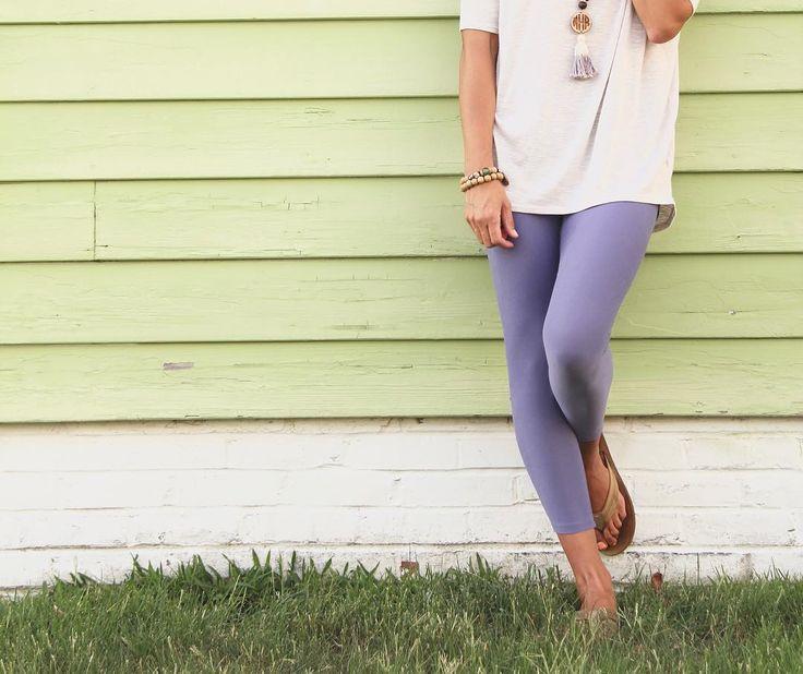 LuLaRoe purple leggings, cream Irma