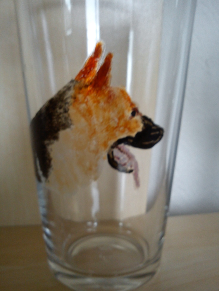 Alsatian dog painted on the outside of a pint glass