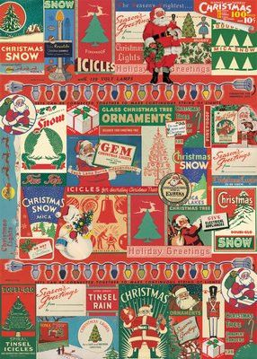 "Cavallini Vintage Christmas Wrap 20"" x 28"" - Printed on Cavallini's signature Italian paper (archival) - Perfect for wrapping, as posters, framing and other creative endeavors - Best selling and most"