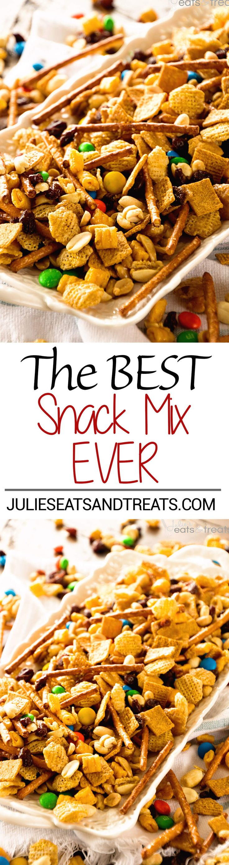 Snack Mix ~ This Snack Mix is like CRACK! So Addictive and Delicious! Full of Cereal, Pretzels, Peanuts, M&Ms and Raisins! Perfect for Christmas and Holiday Parties! ~ http://www.julieseatsandtreats.com