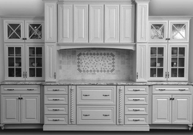 Ivory-colored kitchen cabinets