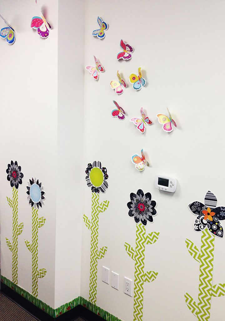Use the Lime Green Chevron Border to create flower stems for a spring garden on a bulletin board or classroom (or office) wall.  Accent with Butterfly cut-outs for more color!