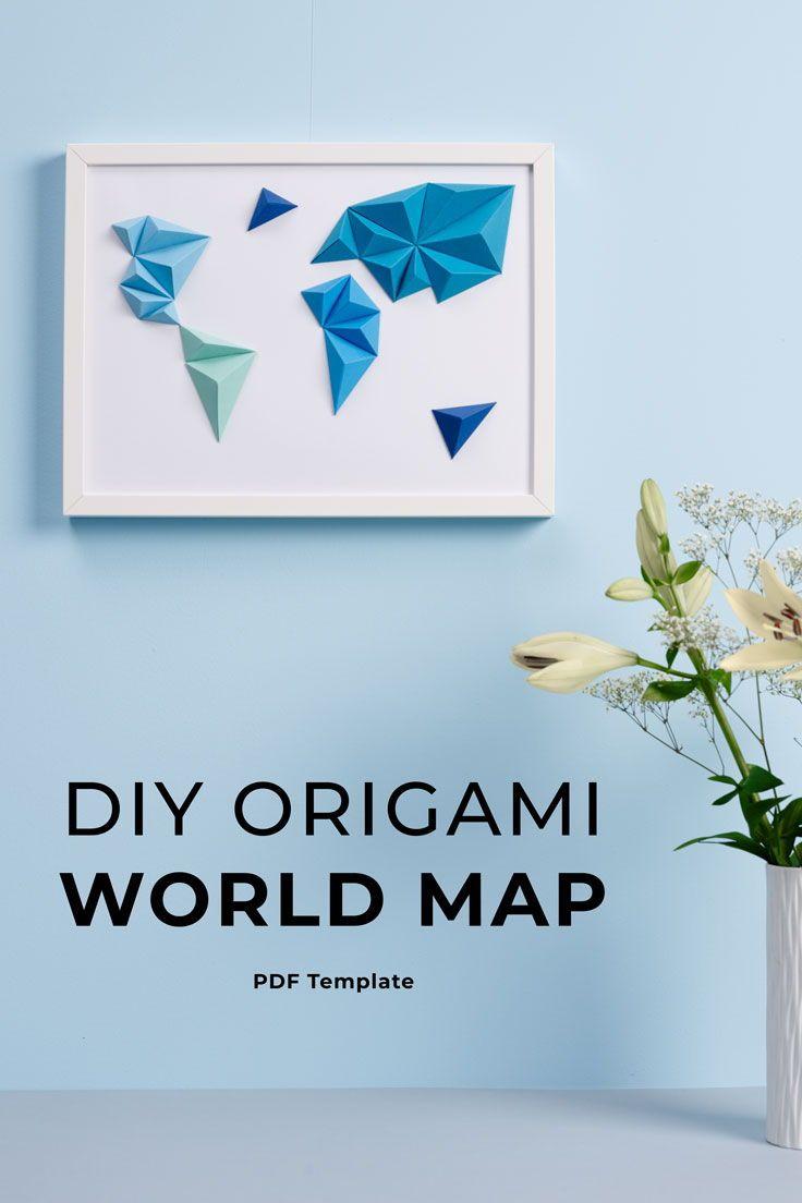 World Map Origami Wall Art Papercraft Digital Template Christmas