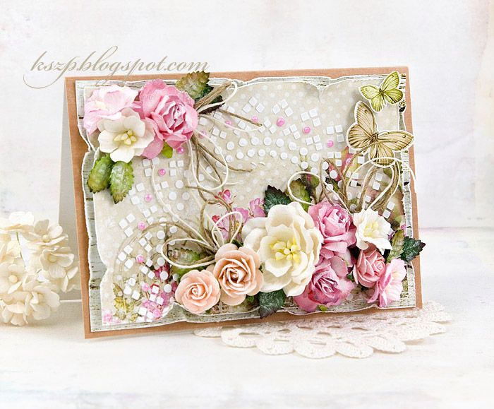 Lovely card with flowers by Wild Orchid Craft and th House of Roses paper collection by Lemoncrafy, made by Klaudia / KSZP