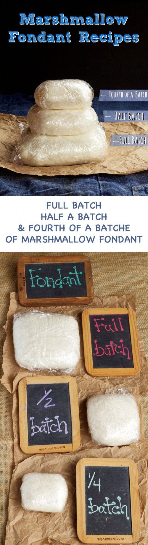 Looking for a Marshmallow Fondant Recipe - Here is Three Different Sized Batches of an Easy Fondant Recipe-Full Batch, 1:2 Batch and 1:4 Batch via www.thebearfootbaker.com