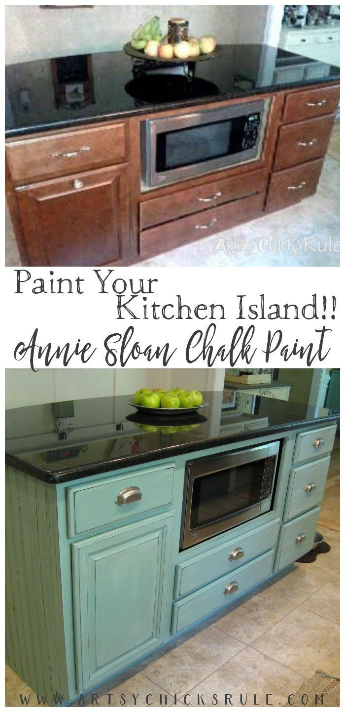 Paint Your Kitchen Island! Duck Egg Blue Chalk Paint makes it easy!! Island Makeover artsychicksrule.com