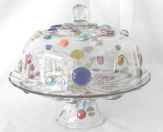 Cake Plate with glass beads