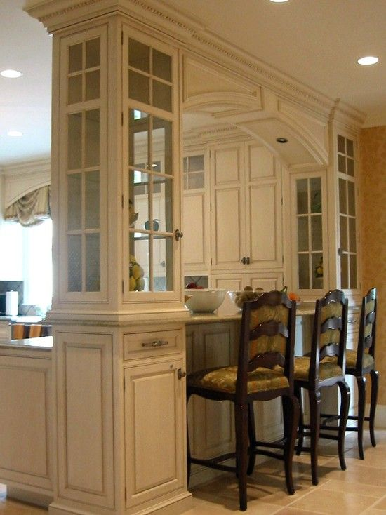 Kitchen pass through columns design pictures remodel for Kitchen dining room decor