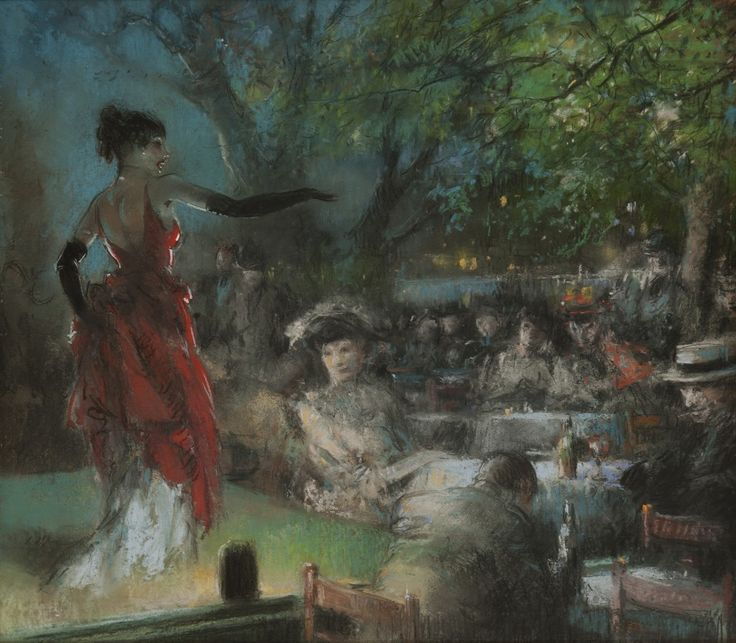 Everett Shinn - Outdoor Stage, Paris (1902)