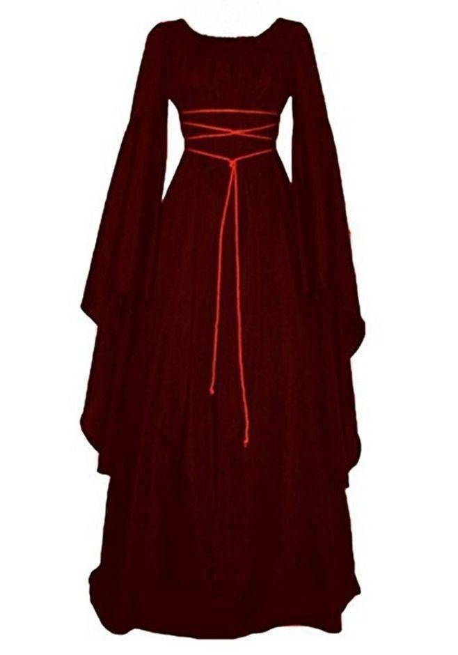 Women Plus Size Solid Vintage Renaissance Flared Long Sleeve Belted Cosplay Fancy Party Maxi Dress Costumes & Accessories Medieval Costume