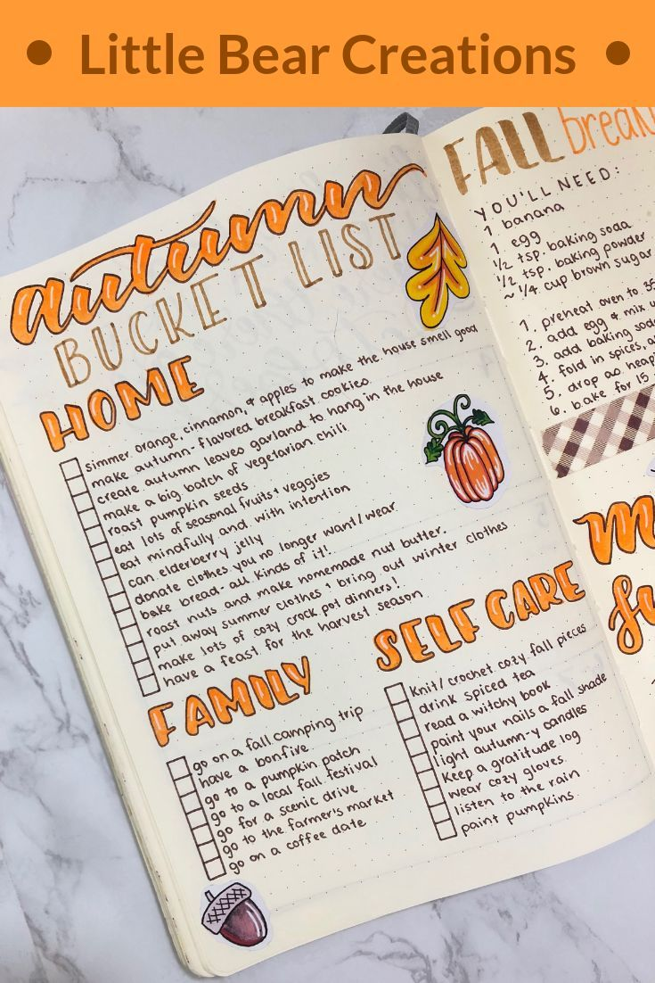 Fall Bucket List in meinem Bullet Journal