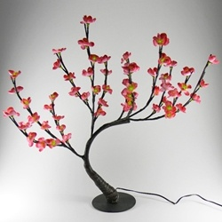 Lighted Bonsai Plum Tree with Base, 22 in., 60 Emerald LEDs, Pink