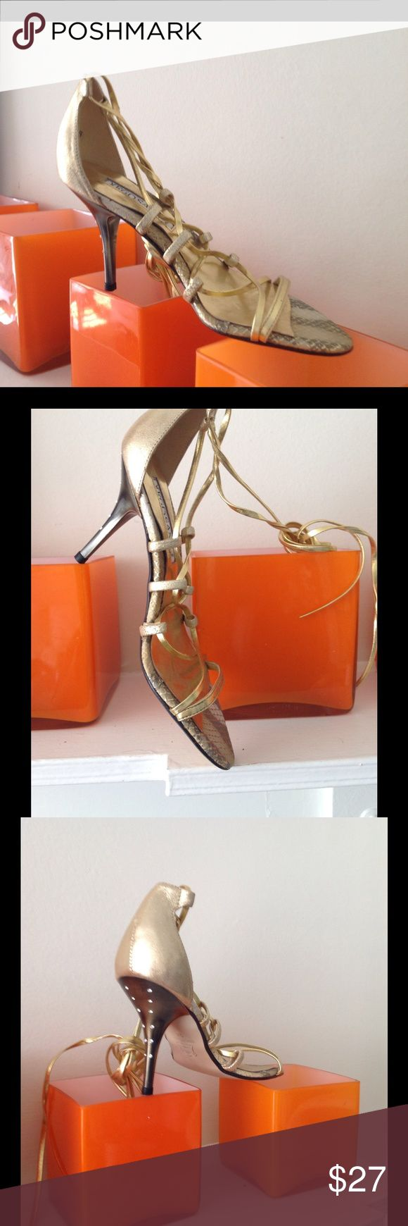 Shoes New! Gold metallic gladiator style high hill shoes. Made in Spine by Diego Sanz Diego Sanz Shoes Heels
