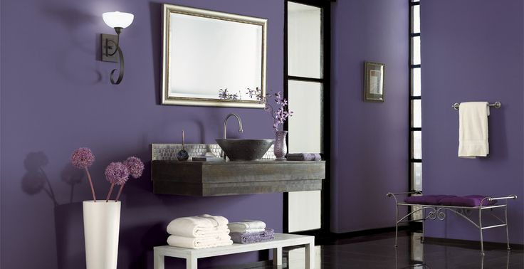 This #purple #bathroom is the perfect space to get ready for any day. Ft. Victorian Iris 650F-6 and Beluga 770F-7. #BEHRPAINT