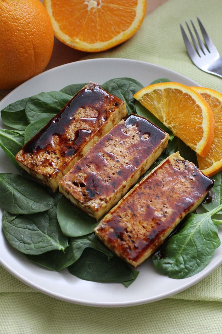 Navel Orange Balsamic Roasted Tofu   Tangy reduced balsamic vinegar is even better with a twist of navel orange. In this vegan recipe, the thick, rich sauce is used to glaze roasted tofu. It makes a great topper for a fresh green salad, or serve it with rice and sautéed greens finished with a sprinkle of citrus juice and zest. SERVINGS: 6 TIME TO TABLE:30 minutes prep, 30 minutes cooking, 30 minutes baking. INGREDIENTS:14 oz. firm or extra firm tofu, drained1 cup balsamic vinegar1 tablespoon…