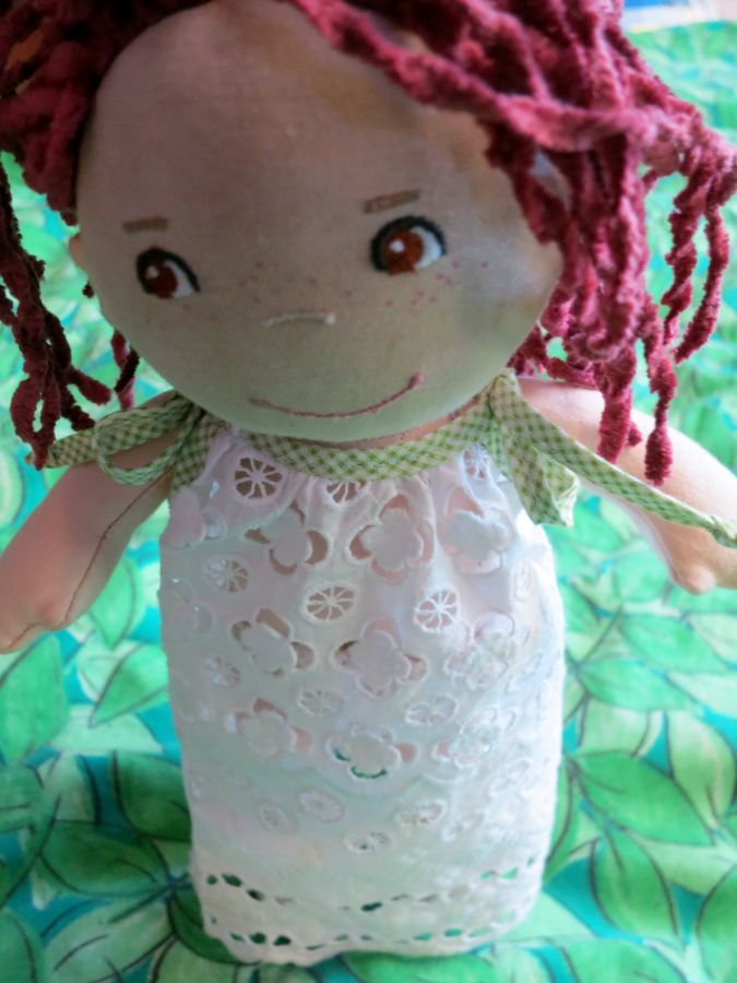 Wee little nightie for Haba doll from scraps of broderie anglaise and bias binding