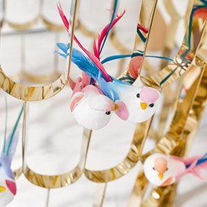 Doğum günü partisi, küçük süslemeler,parti malzemeleri, kuş süslemeler, romantik süslemeler