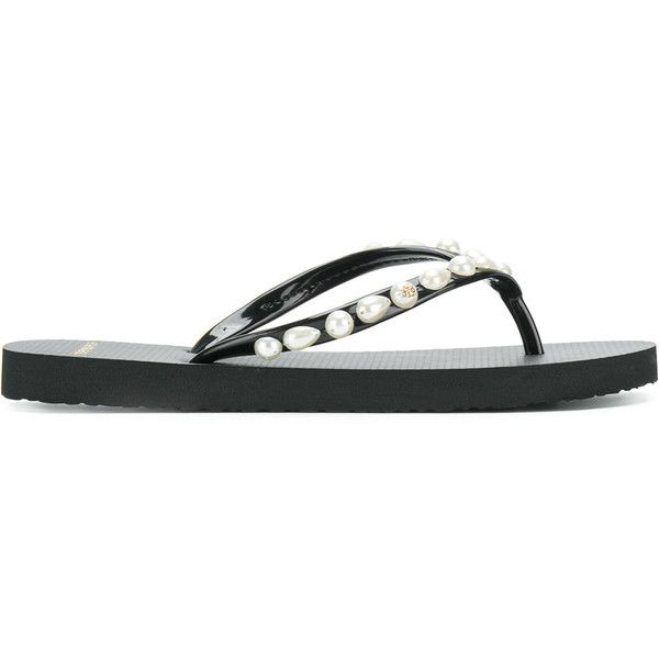 Tory Burch Pearl Thin flip-flops featuring polyvore, women's fashion, shoes, sandals, flip flops, black, strap sandals, flat slip on sandals, black flat sandals, embellished flat sandals and strappy flat sandals