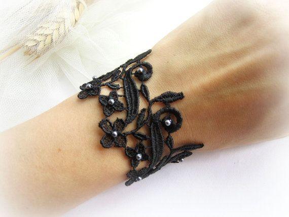 Black lace bracelet floral lace bracelet lace by MalinaCapricciosa
