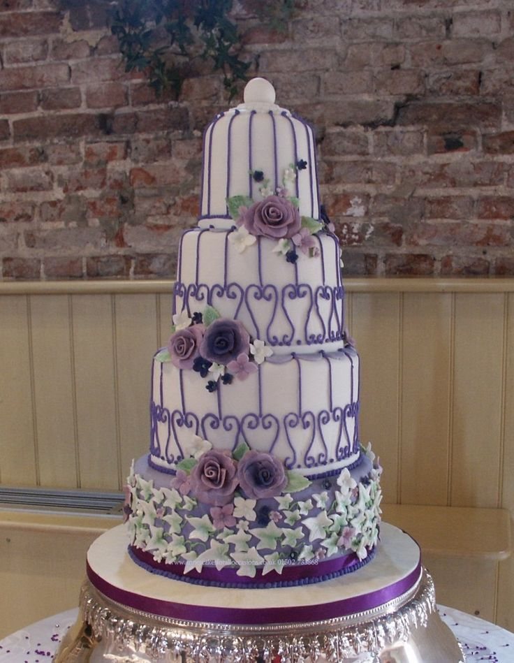 4 Tier Bird Cage Wedding Cakes With Hand Crafted Roses And Daisy Sugar Flowers Design