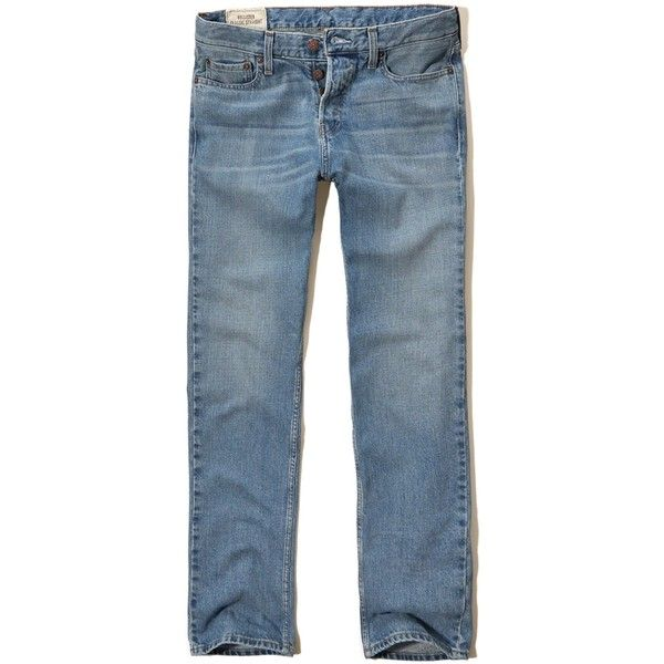 Hollister Classic Straight Jeans ($13) ❤ liked on Polyvore featuring men's fashion, men's clothing, men's jeans, light wash, mens button fly jeans, mens light wash jeans, mens frayed hem jeans, mens faded jeans and mens cuffed jeans