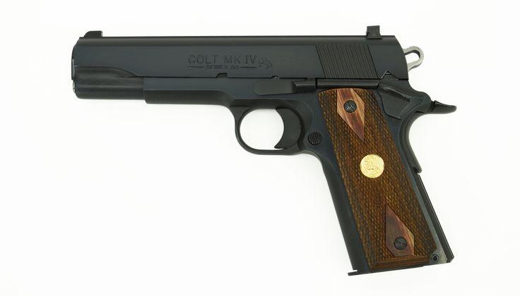 "Colt Government .38 Super caliber pistol. 1990's vintage .38 Super ""enhanced"" blue model. Excellent condition with box."