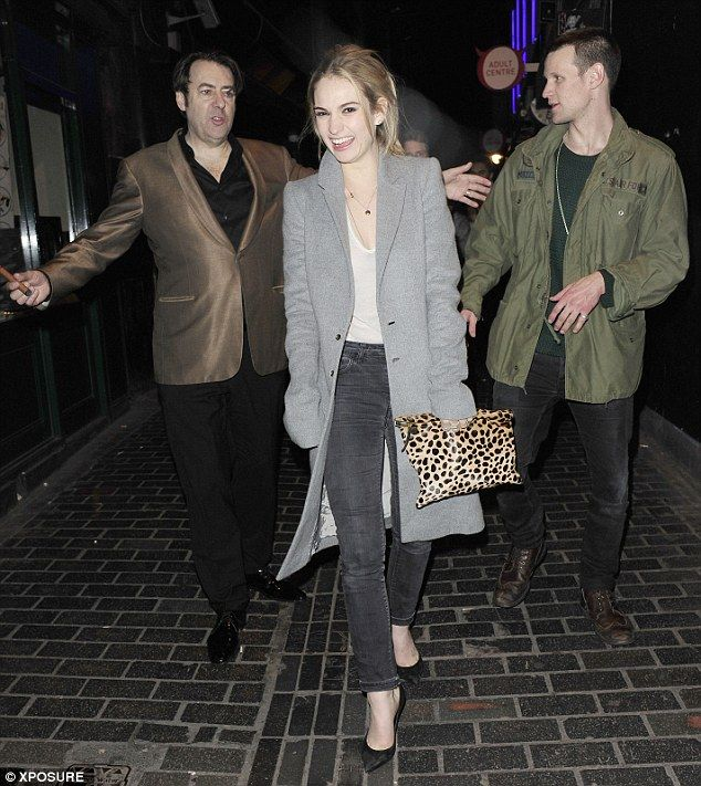 High spirits: Lily James and boyfriend Matt Smith were accompanied by TV presenter Jonathan Ross as they exited The Box nightclub in London on Friday evening
