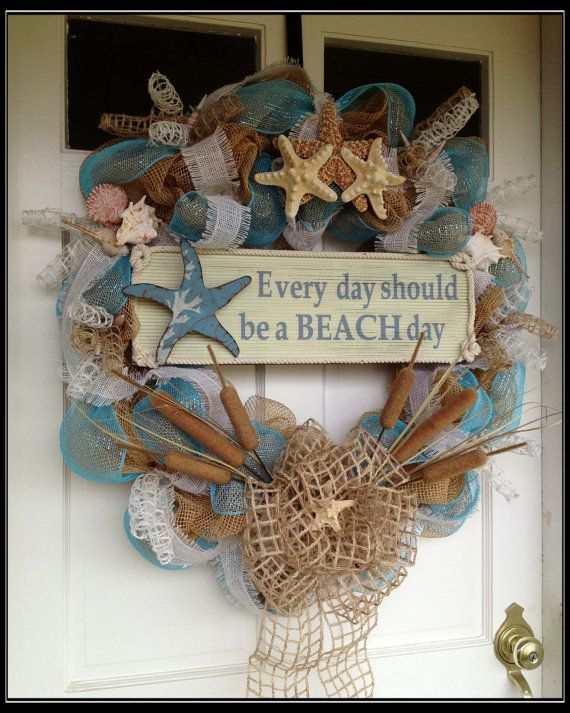 """Seashell Deco Mesh and Burlap Wreath """"Everyday Should Be A Beach Day"""""""