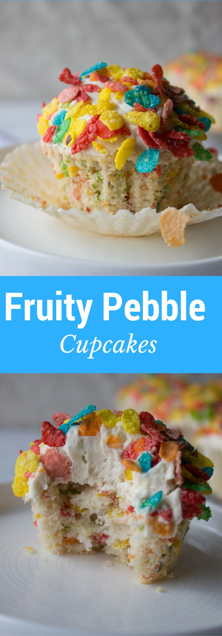 Fruity Pebble Cupcakes with a silky smooth buttercream frosting and even more fruity pebbles on top! They are out of control!