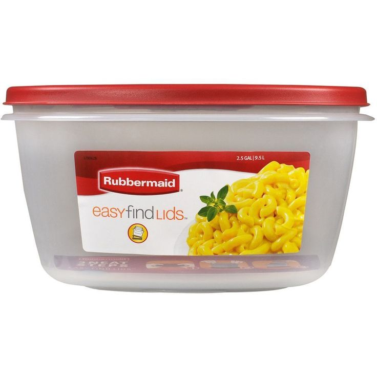 Rubbermaid Food Storage 2.5 Gallon Easy Find Lids Rectangle Clear Red Lid #Rubbermaid