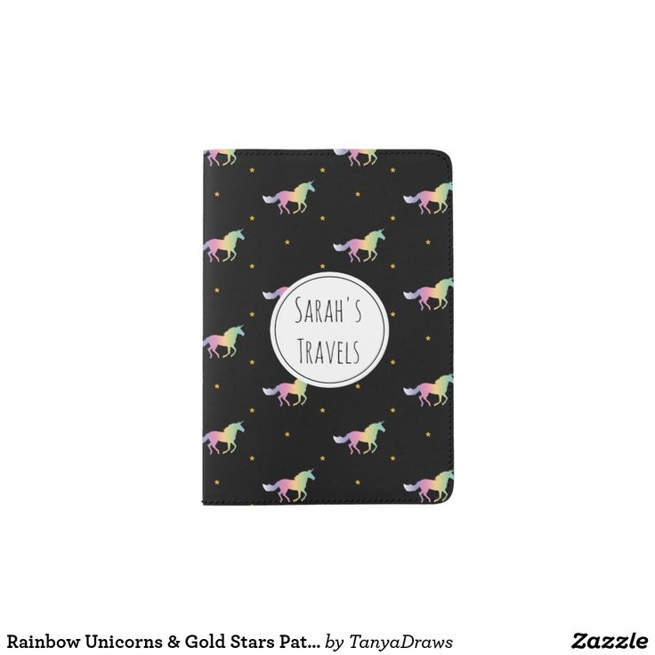New at my shop! Rainbow Unicorns & Gold Stars Pattern Passport Holder. - Change the name to personalize