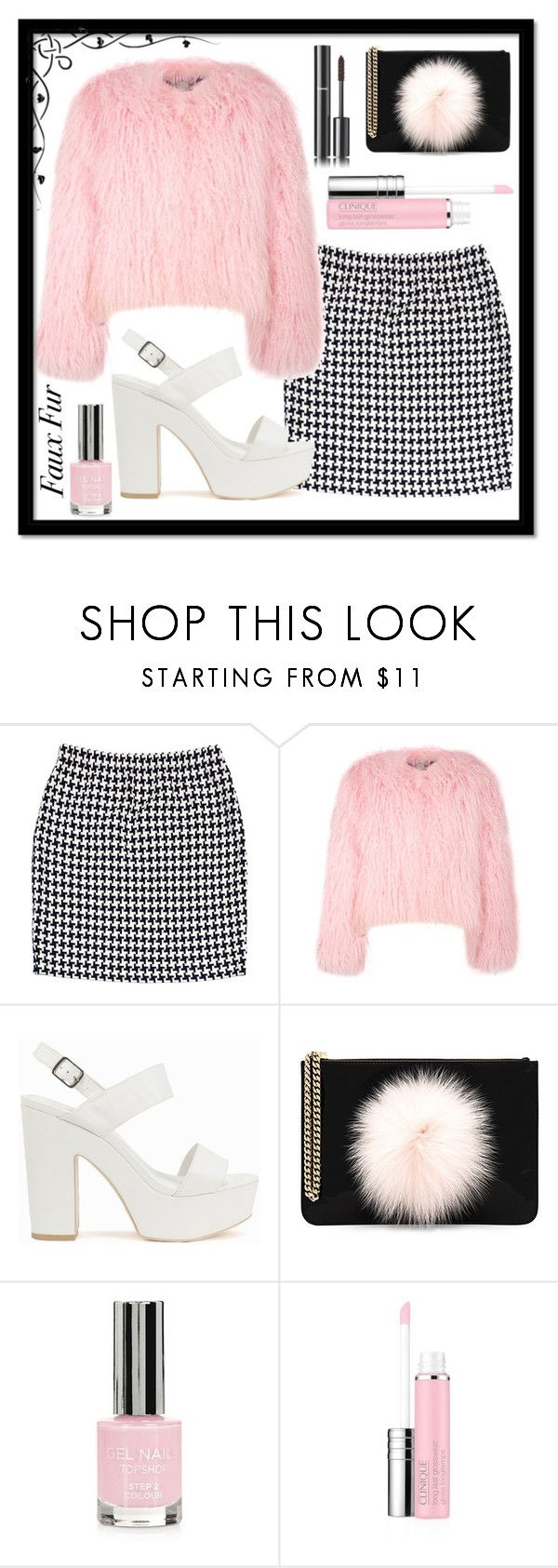 """""""The Fur is Fake"""" by i-love-tennis ❤ liked on Polyvore featuring St. John, Charlotte Simone, Nly Shoes, Les Petits Joueurs, Topshop, Clinique, Chanel and fauxfur"""
