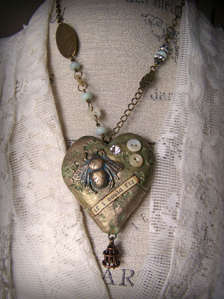 Handmade Mixed Media  Jewelry Altered Necklace Vintage Bee  Necklace  Vintage Mixed Media Vintage Gypsy  Heart Necklace Heart Pendant by QueenBe on Etsy https://www.etsy.com/listing/505968649/handmade-mixed-media-jewelry-altered