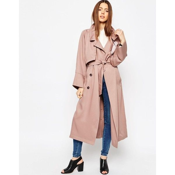 ASOS Trench in Waterfall Drape with Roll Back Sleeve ($122) ❤ liked on Polyvore featuring outerwear, coats, blush, pink double breasted coat, double-breasted coat, tall coats, asos coats and drape coat