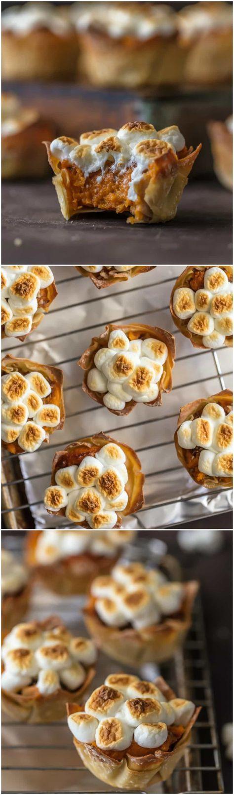 Wow your Thanksgiving guests with MINI SWEET POTATO SOUFFLE CUPS! It doesn't get cuter than wonton cups stuffed with sweet potato souffle and topped with toasted marshmallows. via @beckygallhardin