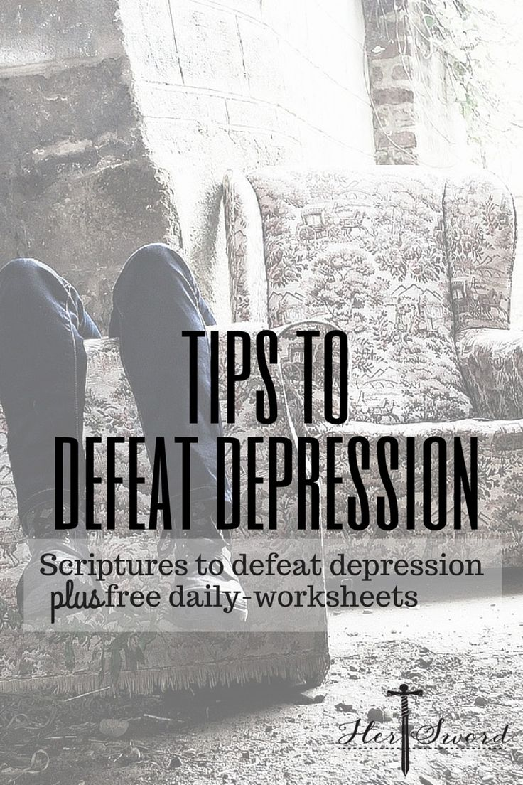 Scriptures and free daily worksheets to help defeat depression. Victorious living for her. Her Sword