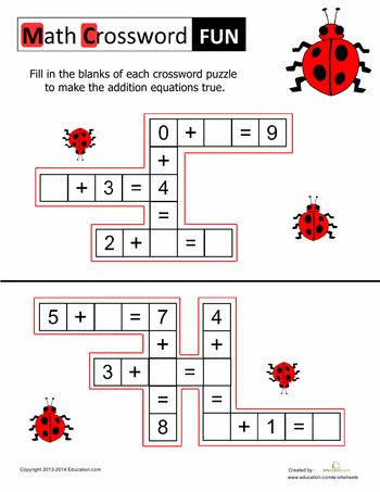 Worksheets: Math Crossword Puzzles for Kids