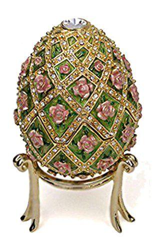 Faberge Egg Rose Trellis Jeweled Museum Reproduction Music Box Plays Swan Lake
