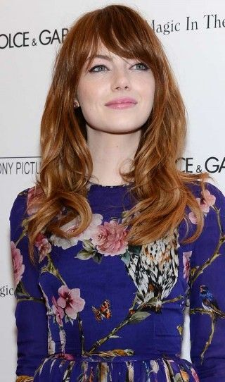 Long Hairstyles For Round Faces - Glam Waves With Sweeping Bangs