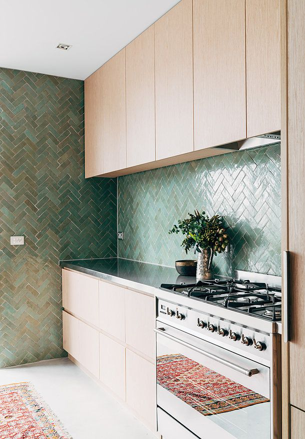 G A B B E - Richmond Residence - www.gabbe.com.au TILESOFEZRA   Moroccan Herringbone zellige tile AVAILABLE from www.tilesofezra.com