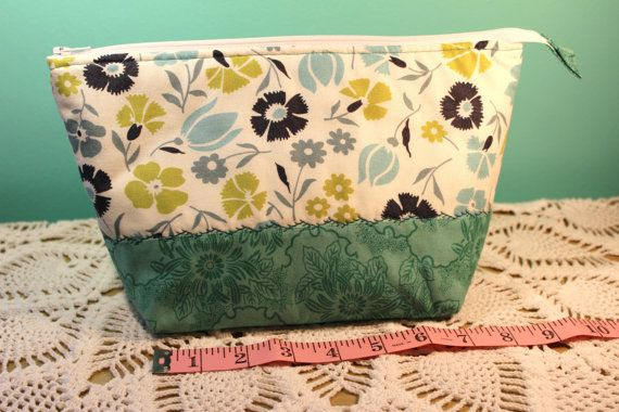 Flat Bottom Bag  Lined  Padded  Teal Green Floral by KRaeDesign