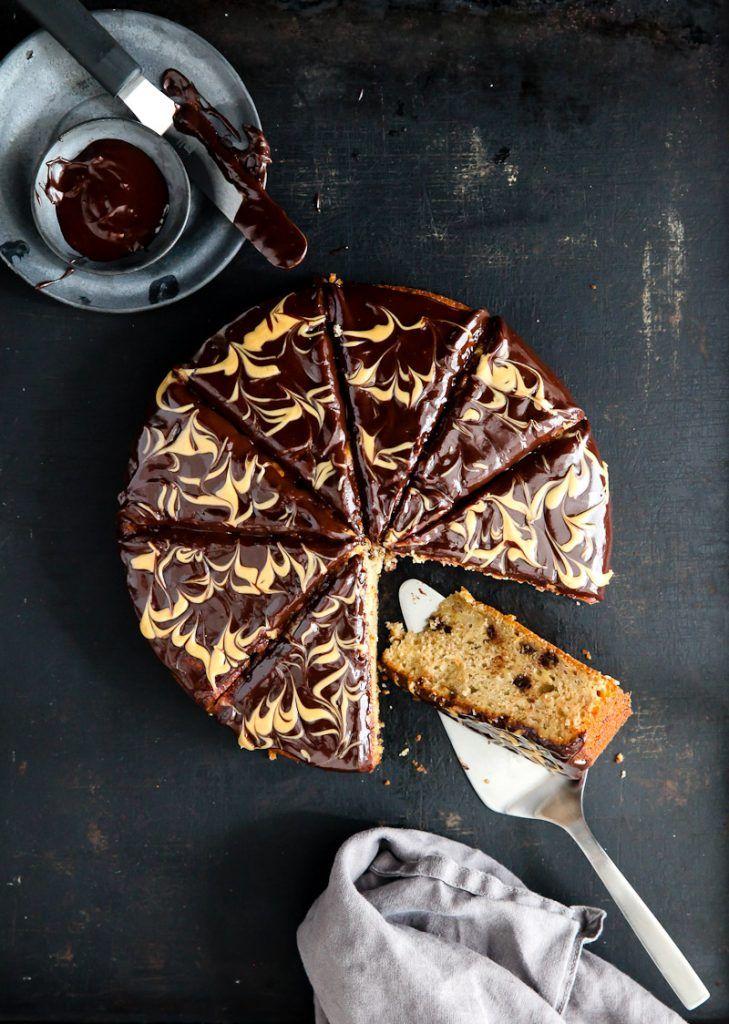 Bananenkuchen Rezept mit Erdnussbutter Schokoladenganache - banana cake with peanutbutter chocolate ganache