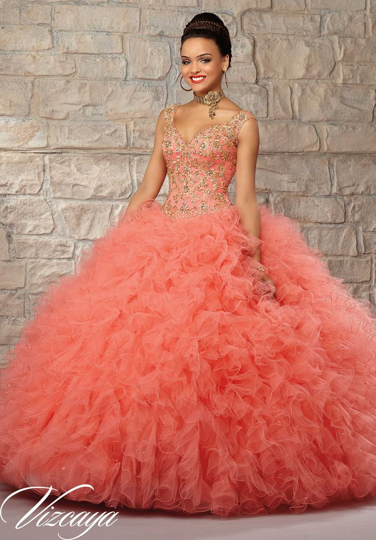 Quinceanera Gowns Style 89037: Ruffled Tulle Skirt with Contrasting Embroidered & Beaded Bodice.  http://www.morilee.com/quinceanera/quinceaneravizcaya/89037