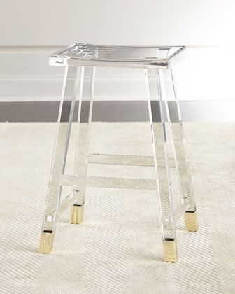 "Handcrafted counter stool. Acrylic and brass. 16""W x 12""D x 27""T. Light assembly…"